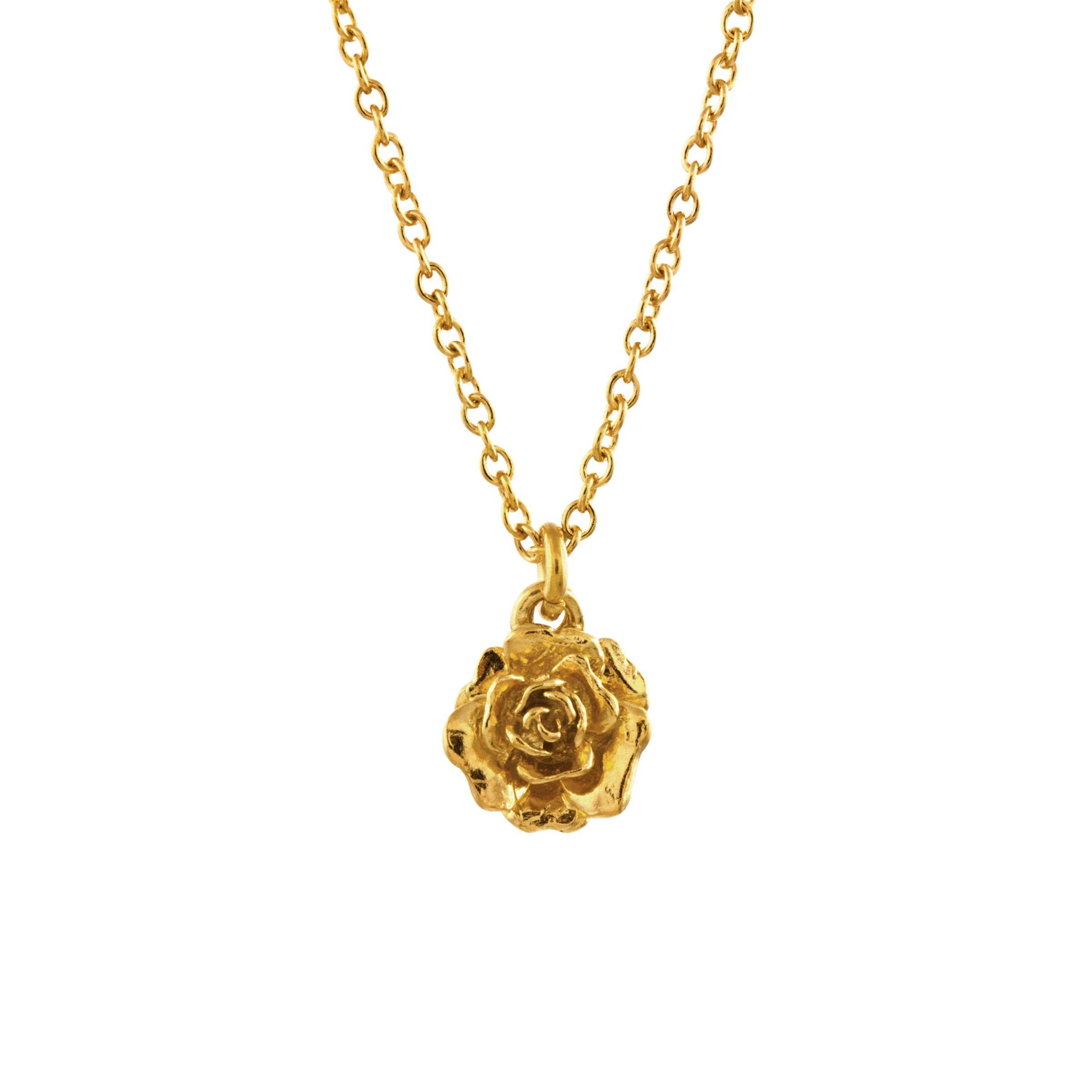 Alex Monroe Alex Monroe 22ct Gold Plated Sterling Silver Rosa Damascena Pendant Necklace, Gold