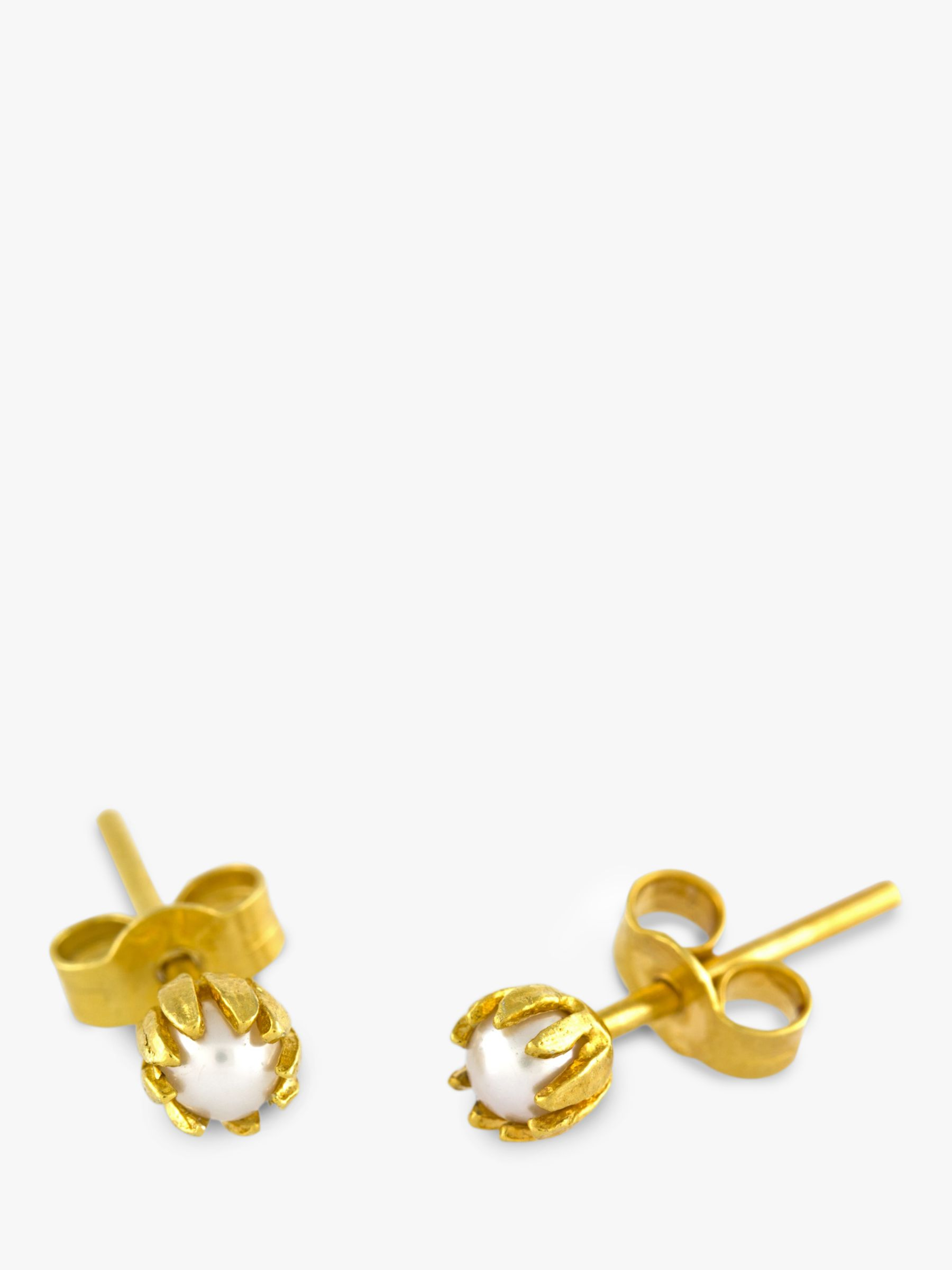 Alex Monroe Alex Monroe 22ct Gold Plated Sterling Silver Baby Pearl Bud Stud Earrings, Gold