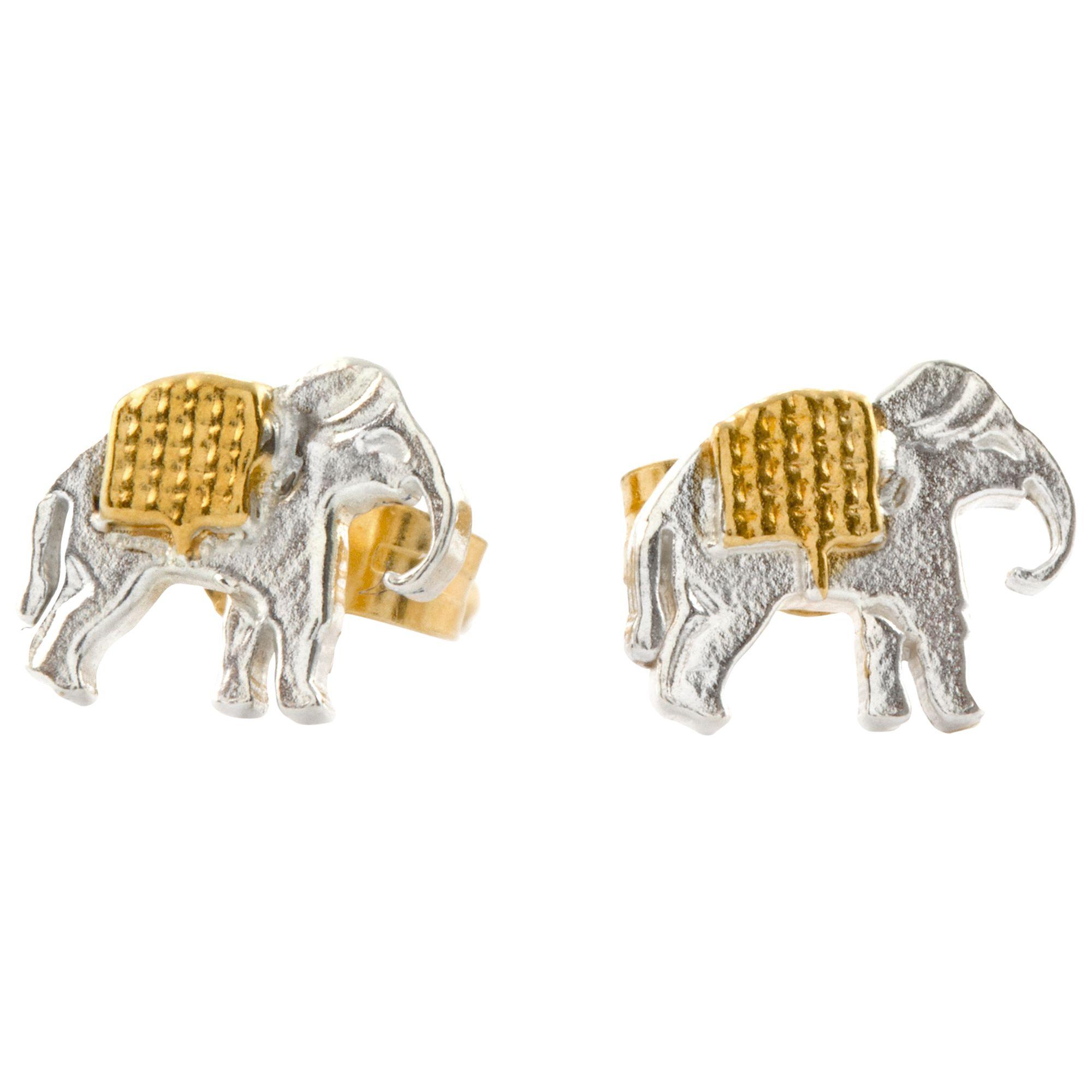 Alex Monroe Alex Monroe 22ct Gold Plated Sterling Silver Elephant Stud Earrings, Silver/Gold