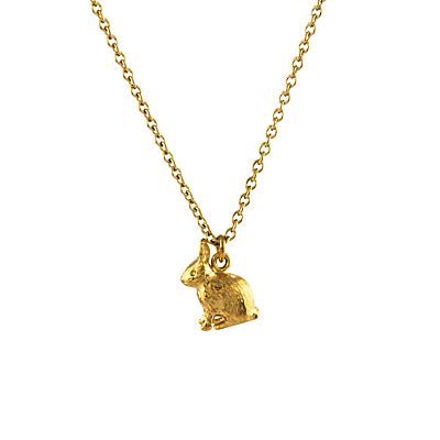 Alex Monroe 22ct Gold Plated Sterling Silver Sitting Bunny Pendant Necklace, Gold