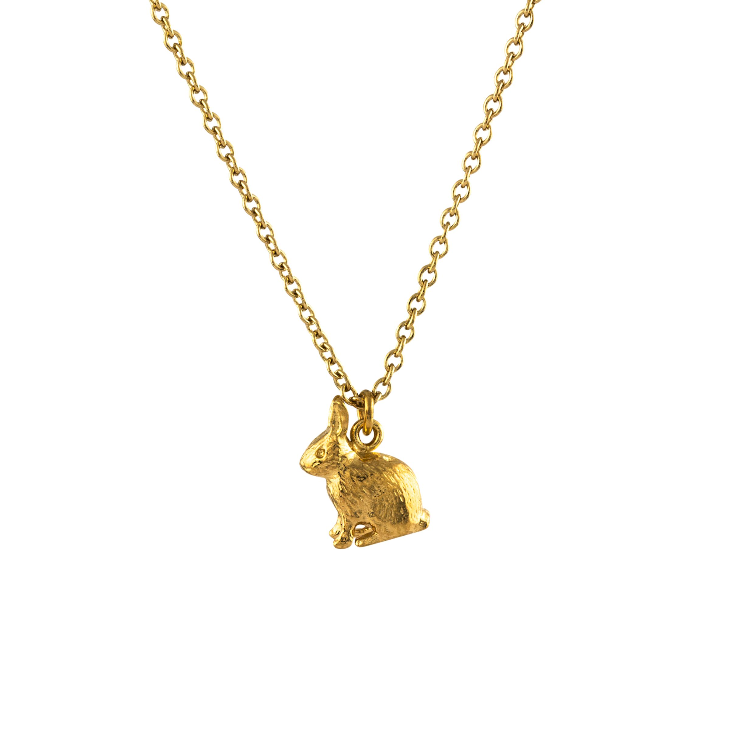 Alex Monroe Alex Monroe 22ct Gold Plated Sterling Silver Sitting Bunny Pendant Necklace, Gold
