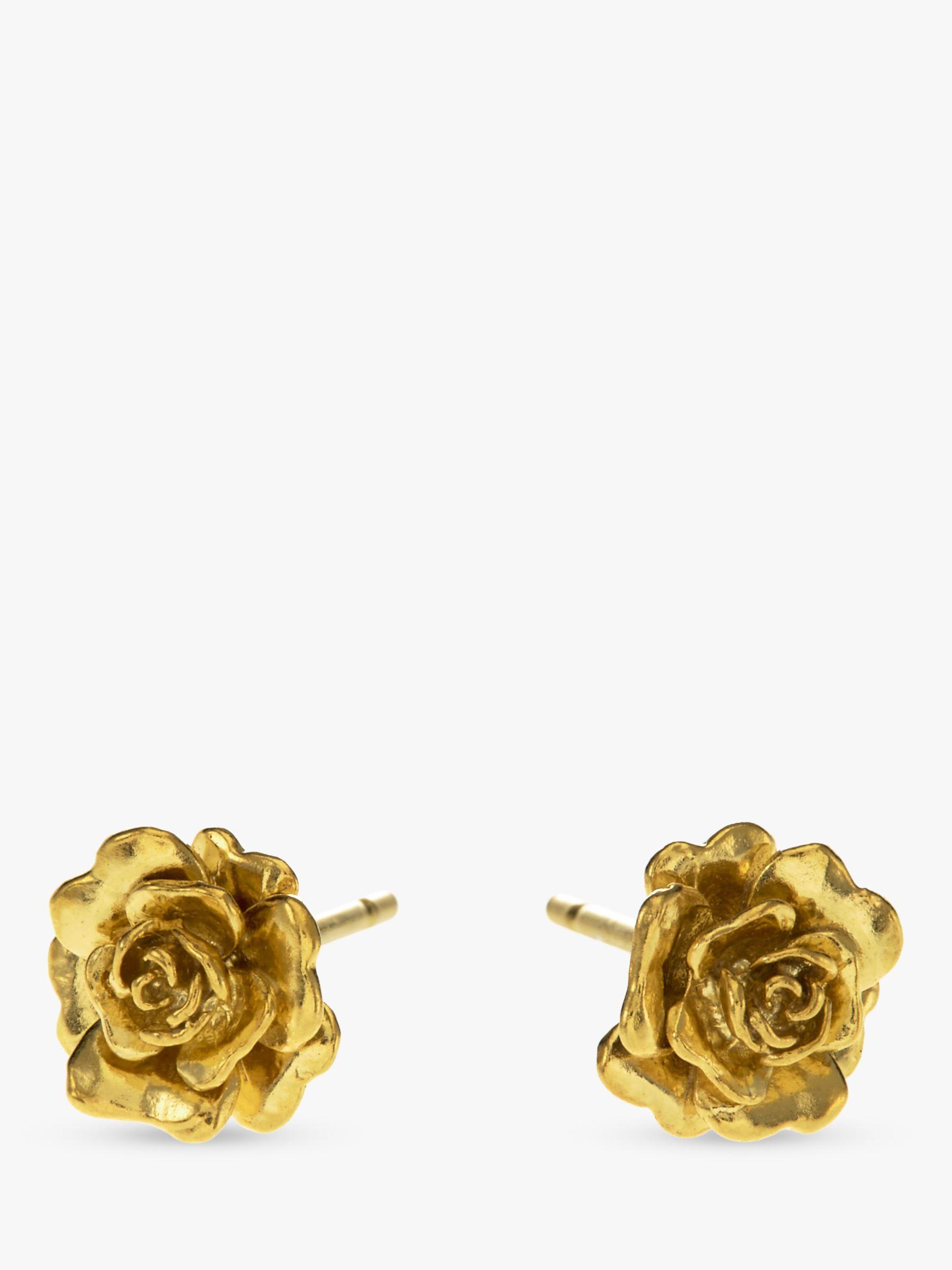 Alex Monroe Alex Monroe Rosa Damascena Flower Stud Earrings, Gold