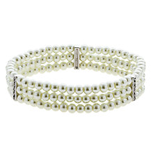 Buy Finesse Pearl and Cubic Zirconia Bar Bracelet, Silver Online at johnlewis.com