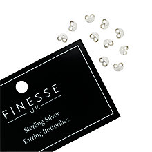 Buy Finesse Sterling Silver Butterfly Earring Backs, Silver Online at johnlewis.com