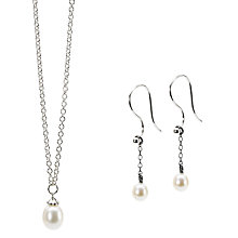 Buy Trollbeads Freshwater Pearl Pendant Necklace and Drop Earrings Set, Silver/White Online at johnlewis.com