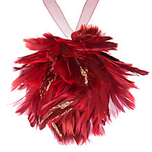 Buy John Lewis Ruskin House Flitter Feather Bauble, Red Online at johnlewis.com