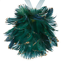 Buy John Lewis Ruskin House Flitter Feather Bauble, Green Online at johnlewis.com