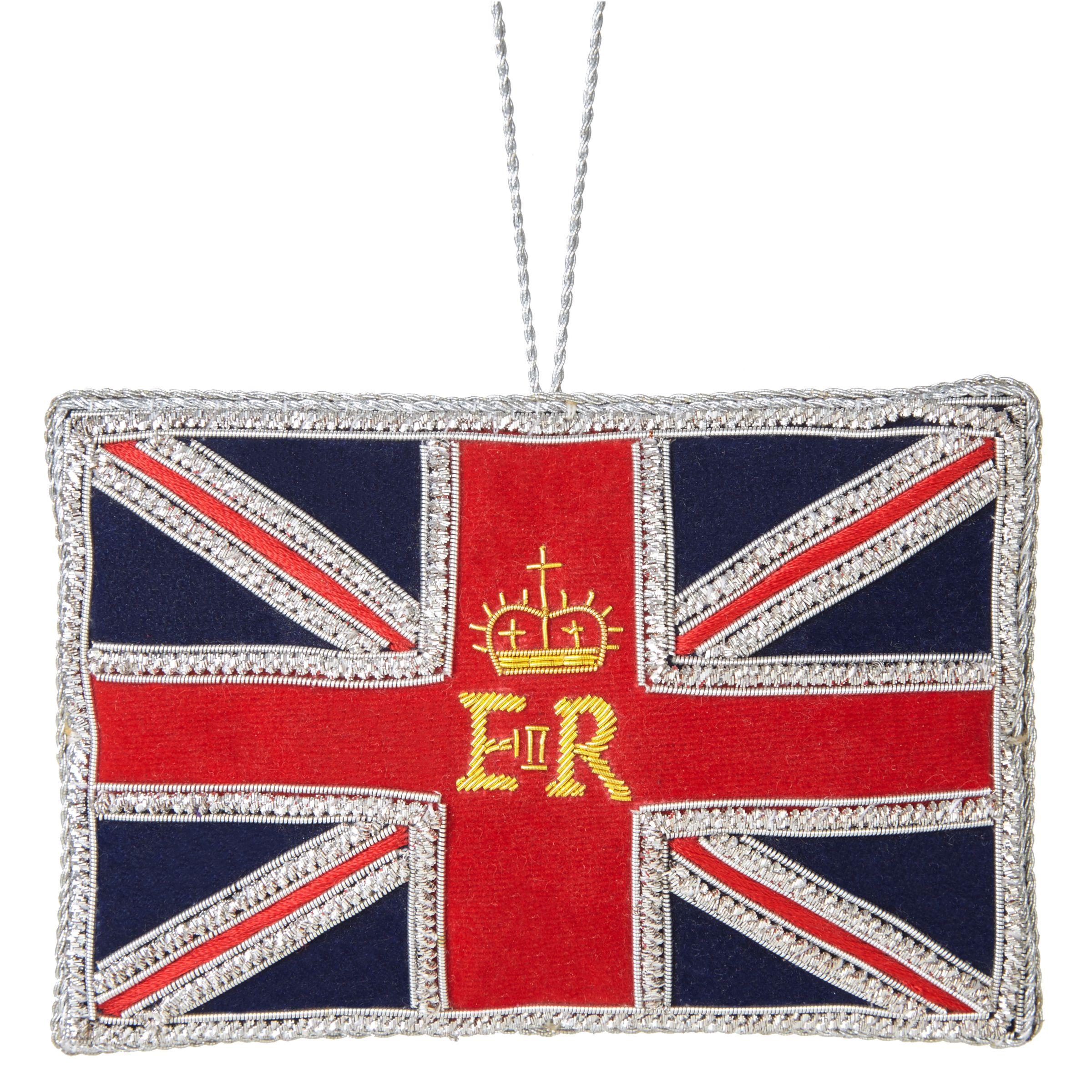 Tinker Tailor Tinker Tailor Tourism ER Great Britain Flag Bauble