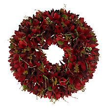 Buy John Lewis Ruskin House Rosette & Foliage Wreath, Red Online at johnlewis.com