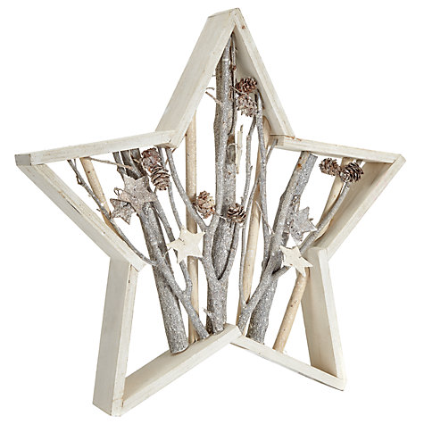 Buy John Lewis Snowshill 39cm Flitter Star Panel, White Online at johnlewis.com