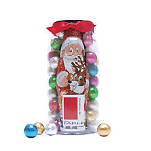 Buy Farhi Foiled Milk Chocolate Santa & Praline Ball Tub, 620g Online at johnlewis.com
