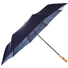 Buy Ted Baker Diamond Interior Floral Print Compact Umbrella, Navy Online at johnlewis.com