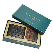 Buy Ted Baker Holiday Crocodile Leather Wallet and Card Holder Gift Set, Black Online at johnlewis.com