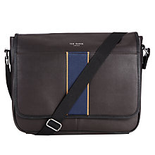 Buy Ted Baker Webster Stripe Webbing Messenger Bag, Chocolate Online at johnlewis.com
