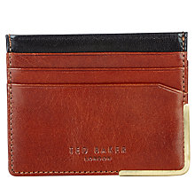 Buy Ted Baker Bill Metal Corner Leather Card Holder, Chocolate Online at johnlewis.com