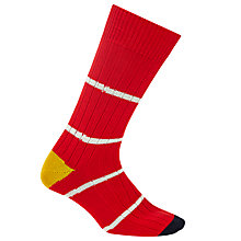 Buy Paul Smith Chunky Ribbed Thin Stripe Socks, One Size, Red Online at johnlewis.com