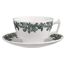 Buy Spode Ruskin House Teacup and Saucer Set, Green / White Online at johnlewis.com