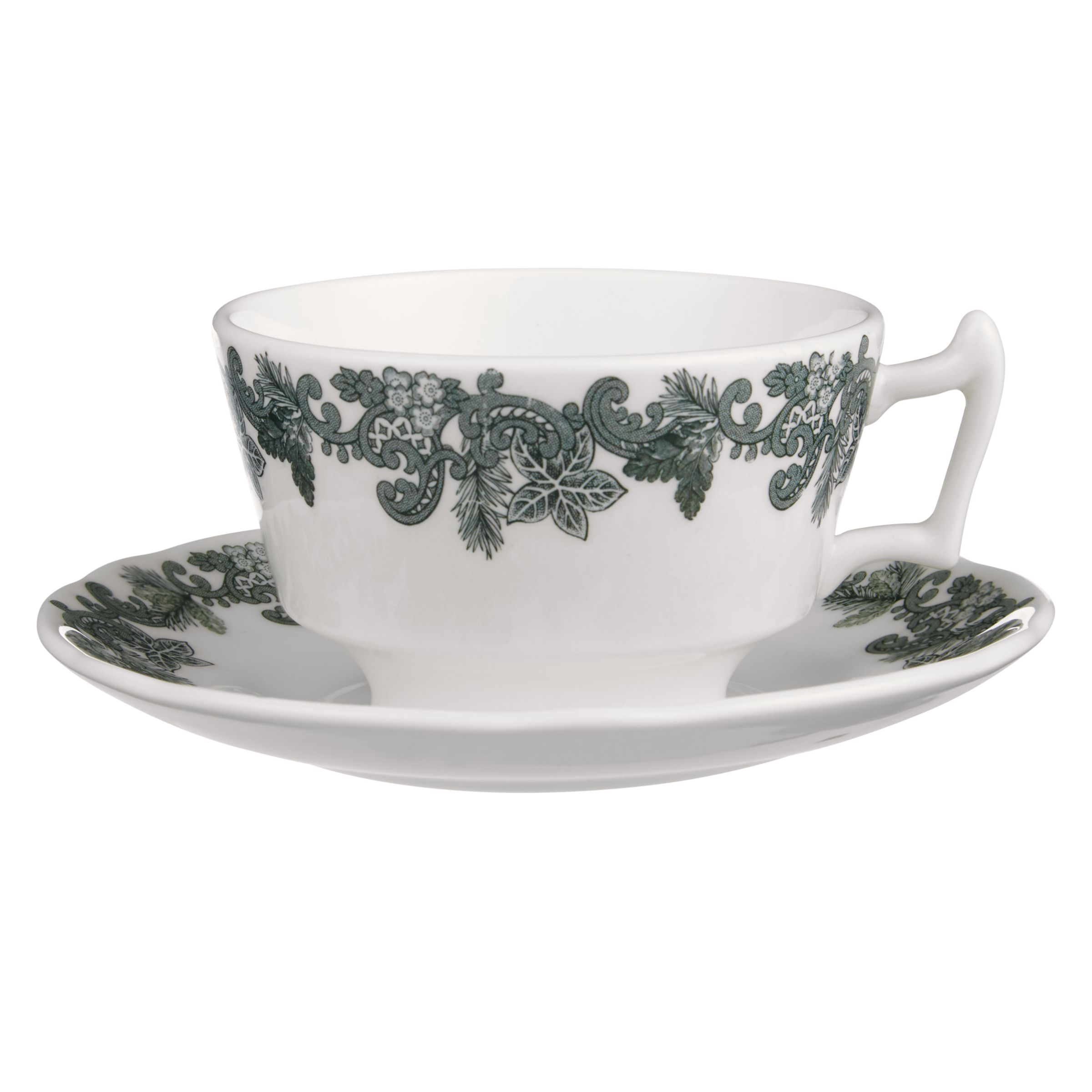 Spode Spode Ruskin House Teacup and Saucer Set, Green / White