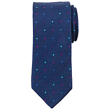Buy John Lewis Jaspe Silk Multi Dot Tie, Bright Blue Online at johnlewis.com