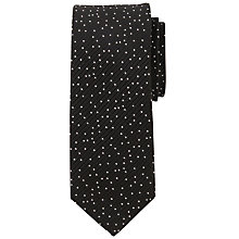 Buy John Lewis Wavering Dot Silk Tie, Black/Silver Online at johnlewis.com