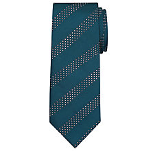 Buy John Lewis Dot Stripe Silk Tie, Teal Online at johnlewis.com