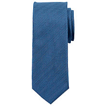 Buy John Lewis Contrast Herringbone Silk Tie, Navy/Steel Online at johnlewis.com