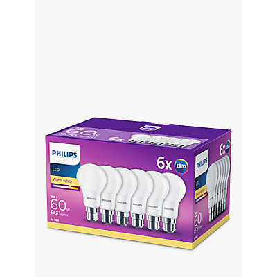 Philips 8W BC Classic LED Warm White Light Bulb, Pack of 6