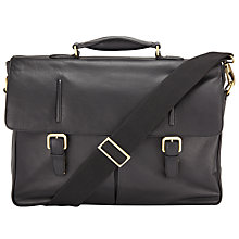 Buy John Lewis Salzburg Leather Briefcase, Black Online at johnlewis.com