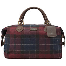 Buy Barbour Tartan Exp Holdall, Wine/Navy Online at johnlewis.com