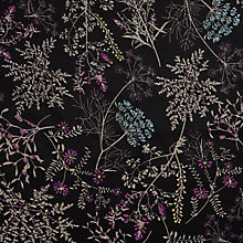 Buy John Lewis Dandelion Flora Print Fabric, Black Online at johnlewis.com