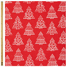 Buy John Lewis Linen Look Christmas Tree Fabric Online at johnlewis.com