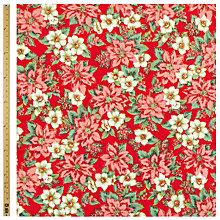 Buy John Lewis Christmas Poinsettia Fabric, Red Online at johnlewis.com