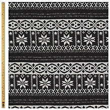 Buy John Lewis Poncho Fair Isle Fashion Fabric, Black/Cream Online at johnlewis.com