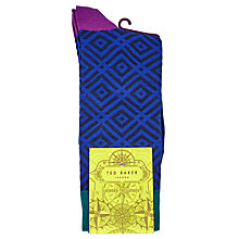 Buy Ted Baker Wise Diamond Sock, Blue Online at johnlewis.com