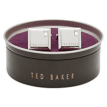 Buy Ted Baker Golcuff Contrast Square Cufflinks, Silver Online at johnlewis.com