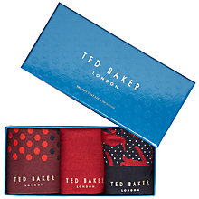 Buy Ted Baker Draughs Socks Gift Set, Pack of 3, Red Online at johnlewis.com
