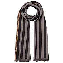 Buy Paul Smith Stripe Cotton Silk Scarf, Black/Grey Online at johnlewis.com