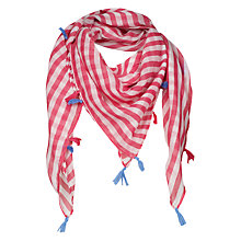 Buy Fat Face Girls' Stripe Square Scarf, Deep Coral Online at johnlewis.com
