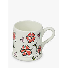 Buy Gallery Thea Personalised Heart and Pansy Mug, Large Online at johnlewis.com