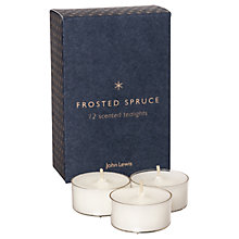 Buy John Lewis Frosted Spruce Christmas Tea Lights, Pack of 12 Online at johnlewis.com