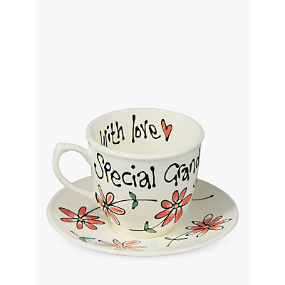 Gallery Thea Personalised Coral Daisy Teacup and Saucer