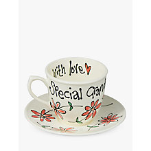 Buy Gallery Thea Personalised Coral Daisy Teacup and Saucer Online at johnlewis.com