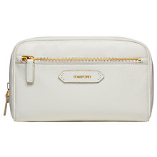 Buy TOM FORD Soleil Small Leather Cosmetic Bag, White Online at johnlewis.com