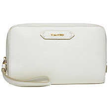 Buy TOM FORD Soleil Medium Leather Cosmetic Bag, White Online at johnlewis.com