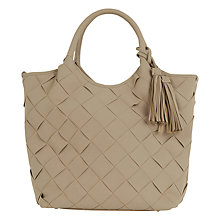 Buy Oasis Maggie Big Weave Tote Bag, Stone Online at johnlewis.com