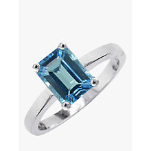 Buy EWA 9ct White Gold Baguette Ring, Blue Topaz Online at johnlewis.com