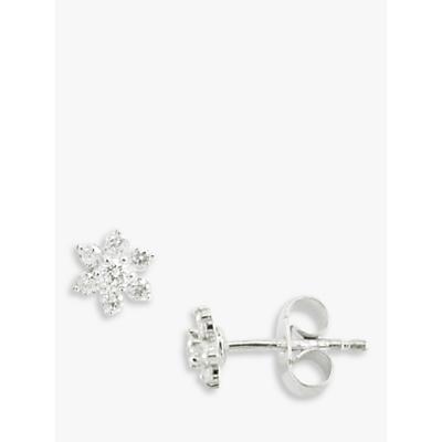 EWA 18ct White Gold Diamond Flower Cluster Stud Earrings, White Gold