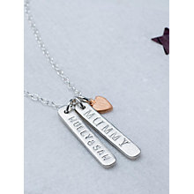 Buy Chambers & Beau Personalised Double Skinny Bar and Heart Necklace Online at johnlewis.com
