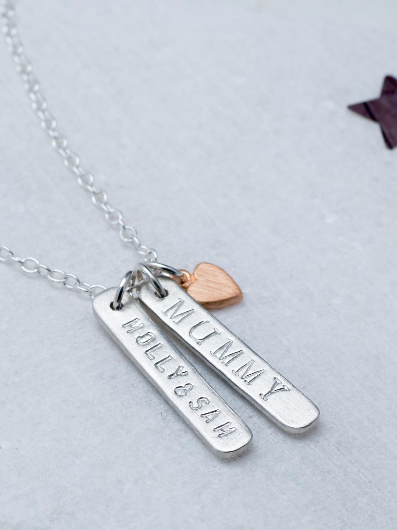 Chambers & Beau Chambers & Beau Personalised Double Skinny Bar and Heart Necklace