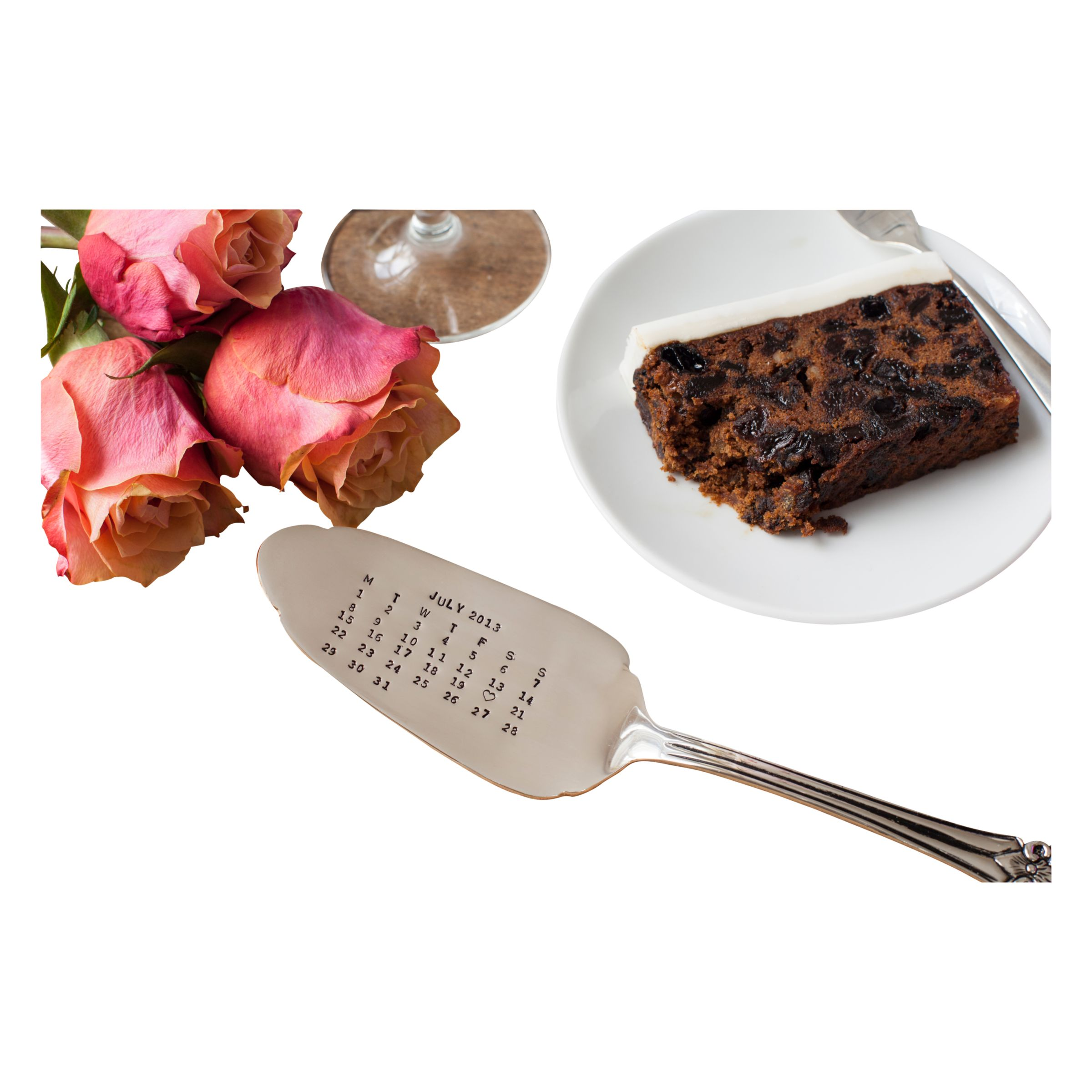 Cutlery Commission Cutlery Commission Silver-Plated Personalised Date Cake Slice